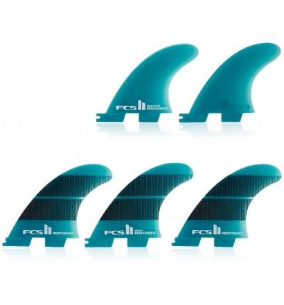 Ailerons de surf FCSII tri-quad Performer Neo Glass