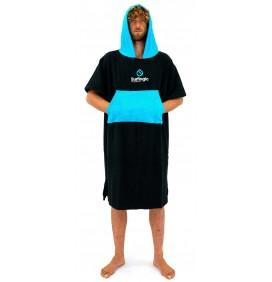 Poncho toalla Surf Logic Black & Cyan