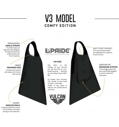 Aletas de bodyboard Pride Vulcan V3 Negro Comfy Edition